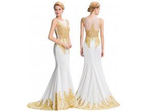 BÍLÉ společenské šaty se zlatou aplikací, 32 - 44