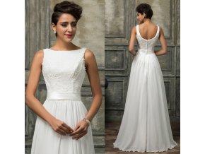 BÍLÉ společenské / svatební šaty, 32 - 44, RYCHLÉ DODÁNÍ