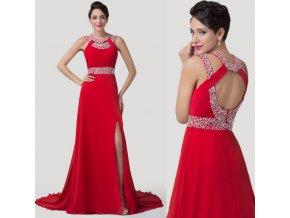 Červené společenské šaty s rozparkem, k DODÁNÍ IHNED