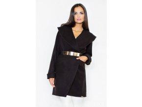 Černý kabát Figl s páskem, S - XL, RYCHLÉ DODÁNÍ