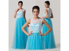 Luxusní modré společenské šaty s krajkou, 32 - 44, RYCHLÉ DODÁNÍ