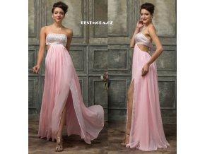 Světle růžové společenské šaty s rozparkem, 32 - 44