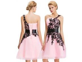 Růžové koktejlové šaty s krajkou, 32 - 44