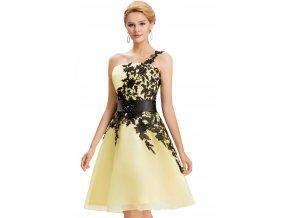 Žluté koktejlové šaty s krajkou, 32 - 44