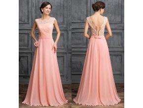 Meruňkové společenské šaty - otevřená záda, SKLADEM