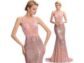 Luxusní společenské šaty s efektní aplikací, SKLADEM