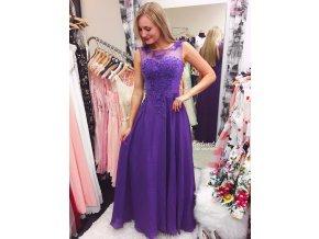 Zdobené fialové společenské šaty, k DODÁNÍ IHNED