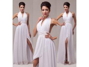 Bílé společenské šaty s rozparkem, SKLADEM