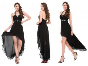 Asymetrické černé společenské šaty, k DODÁNÍ IHNED
