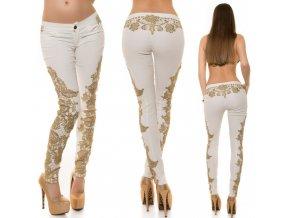 Bílé koženkové kalhoty s krajkou, RYCHLÉ DODÁNÍ