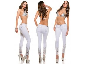 Bílé skinny jeans s aplikací, RYCHLÉ DODÁNÍ