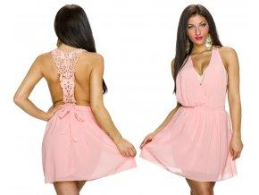 Růžové letní šaty s krajkou, SKLADEM