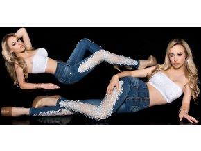 Skinny jeans s krajkou, 34 - 42, RYCHLÉ DODÁNÍ