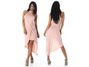 Růžové asymetrické šaty, RYCHLÉ DODÁNÍ