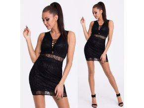Černé krajkové šaty EMAMODA PARIS, RYCHLÉ DODÁNÍ
