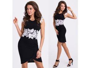Černo-bílé pouzdrové šaty EMAMODA PARIS, S, M, L