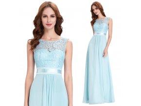Světle modré společenské šaty s krajkou, 32 - 44