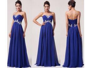 Tmavě modré společenské šaty se zdobením, SKLADEM