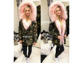 Army PARKA s růžovým kožíškem, SKLADEM