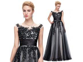 Společenské šaty s krajkovou aplikací, SKLADEM