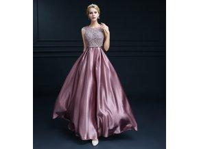 Luxusní fialové společenské šaty s krajkou, SKLADEM