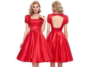 Červené swing šaty BELLE, SKLADEM