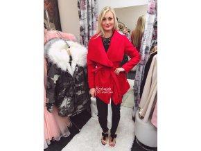Červený flaušový kabát, SKLADEM