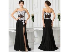 Černé zdobené společenské šaty, SKLADEM