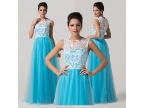 Luxusní modré společenské šaty s krajkou, SKLADEM