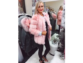 Luxusní růžový kožíšek PARIS, SKLADEM