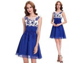 Modré koktejlové šaty s ozdobnou aplikací, SKLADEM