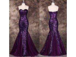 Luxusní fialové společenské šaty, SKLADEM
