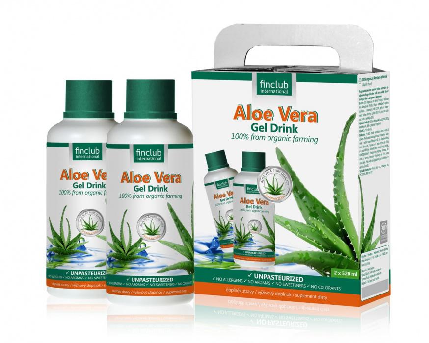 Finclub Aloe Vera gel drink 100% organický 2 x 520 ml