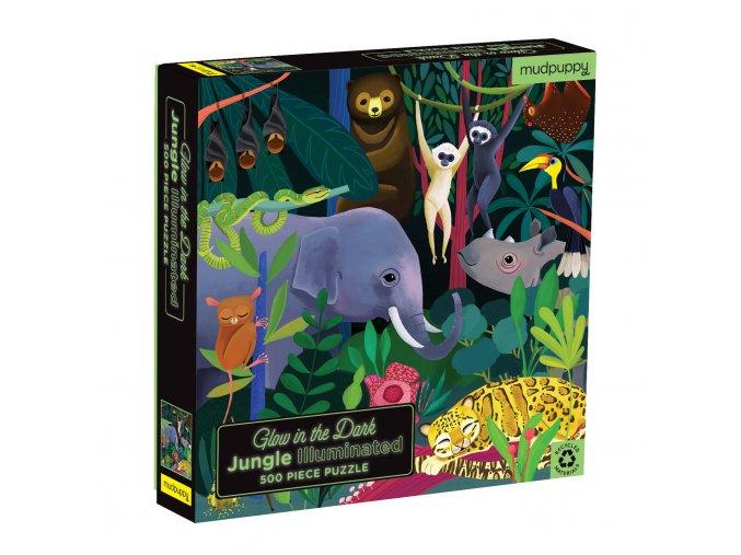 Glow in the Dark Puzzle Jungle Illuminated (500 pc) / Svíticí puzzle - Džungle (500 ks)