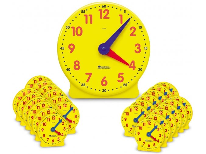 Time Clock Classroom Set (25 pc) / Hodiny - třídní set (25 ks)