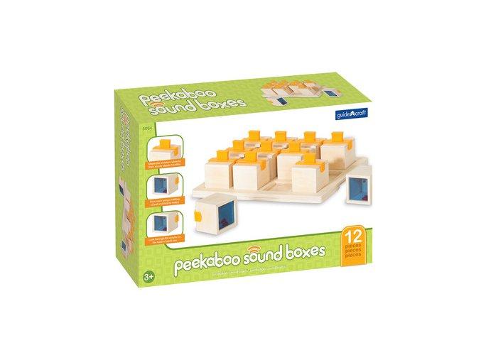 Dřevěné zvukové kostky / Peekaboo sound boxes