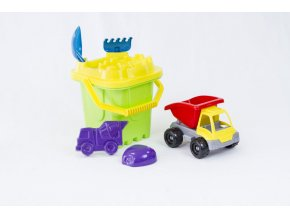 Castle bucket set with small truck - 7 pcs