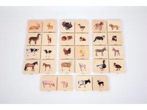 Domestic animal family match (28 ks) / Dřevěné pexeso domácí zvířata (28 pc)