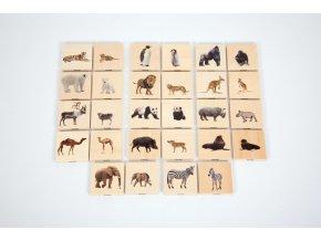 Wild animal family match (28 pc) / Dřevěné pexeso - Divoká zvířata (28 ks)