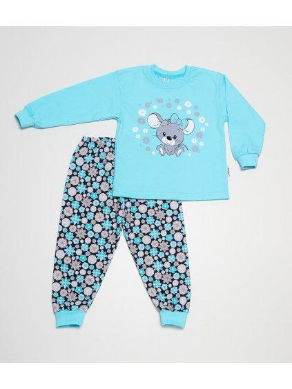Dětské pyžamo MYŠKA S MAŠLÍ TYRKYSOVÁ dlouhý rukáv