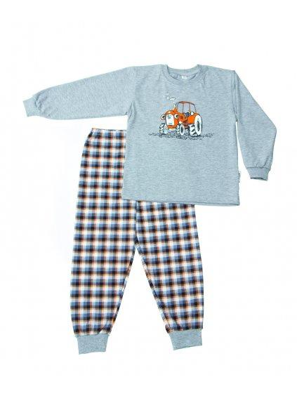 Dětské pyžamo TRAKTŮREK ORANŽOVÝ dlouhý rukáv