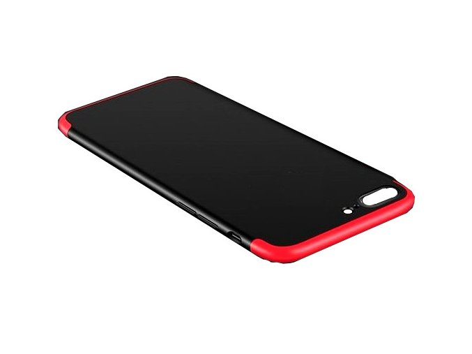 360 oboustranný kryt na iPhone SE 2020 / iPhone 8 / iPhone 7 - červenočerný bez výřezu na logo