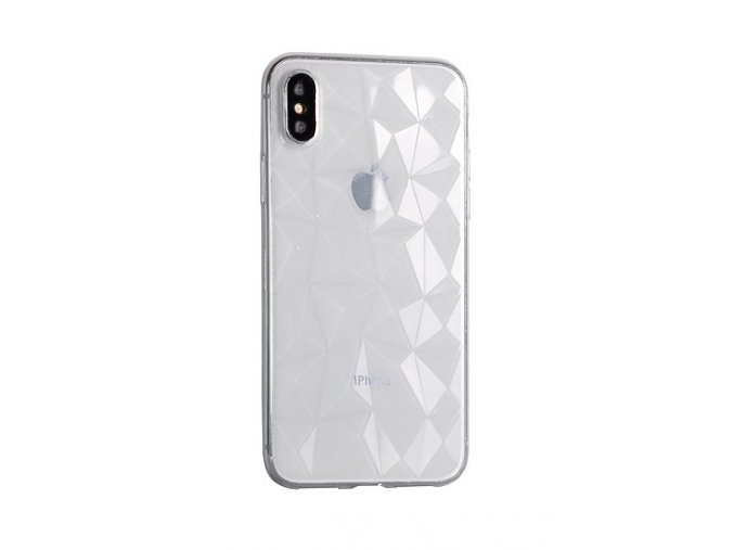 Silikonový diamantový kryt na iPhone XS / iPhone X - transparentní