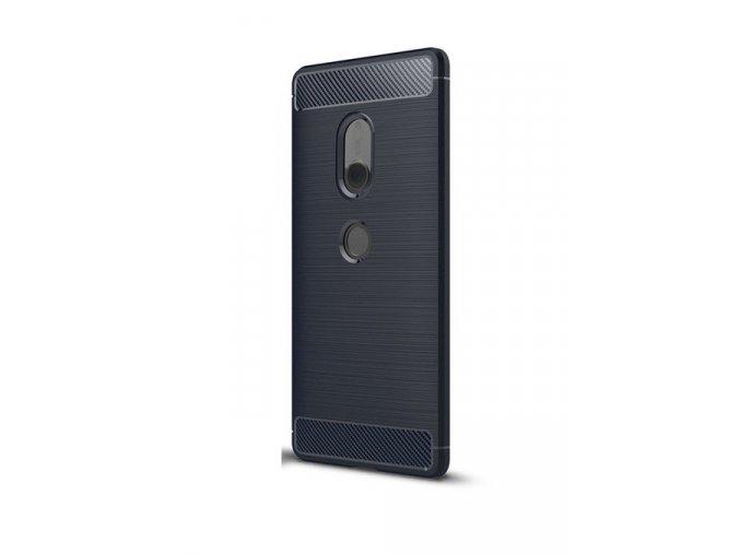 Ohebný carbon kryt na Sony Xperia XZ2 - tmavě modrý