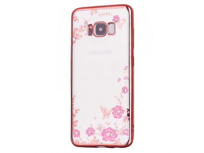 Květinový kryt na Samsung Galaxy S8 růžový title