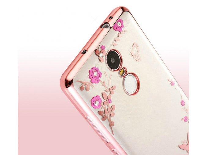 Květinový kryt na Xiaomi Redmi note 4 global růžový detail