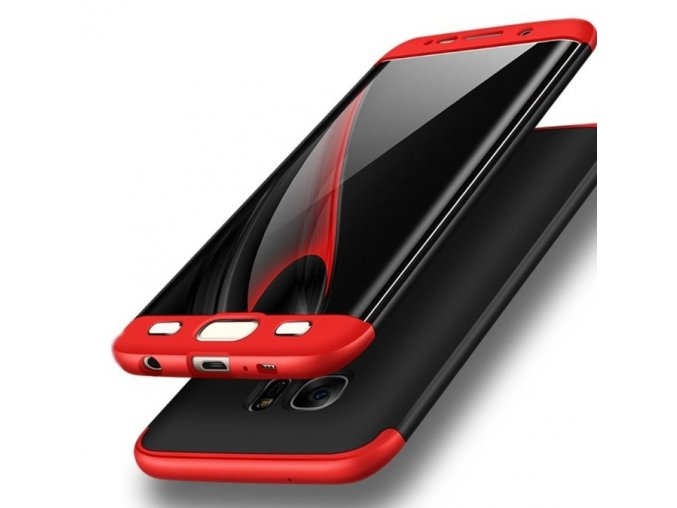 oboustranný kryt 360 na samsung S6 edge červenočerný tit