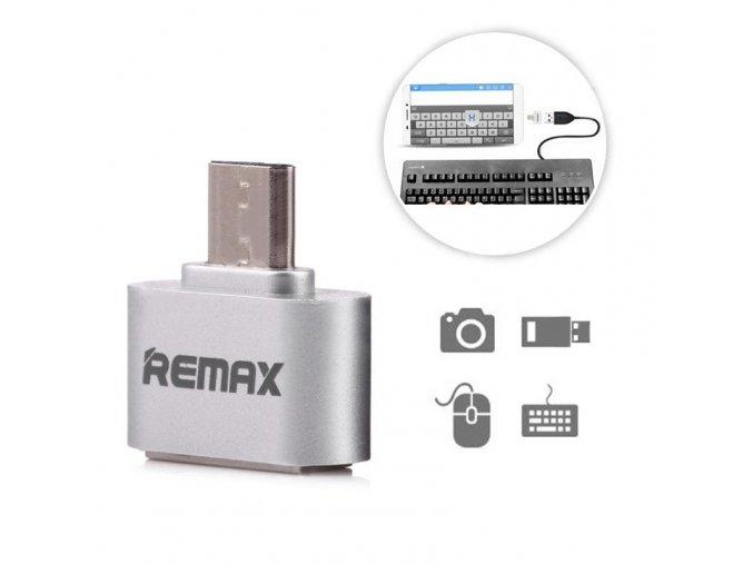 Adaptér Remax USB do Micro USB OTG - Stříbrný