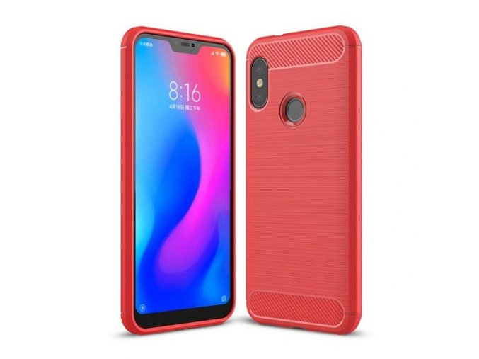 eng pl Carbon Case Flexible Cover TPU Case for Xiaomi Mi A2 Lite Redmi 6 Pro red 42481 1