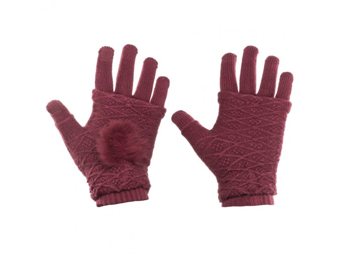 eng pl Touchscreen Winter Gloves 2in1 Striped and Fingerless Gloves Wrist Warmers wine red 27080 6
